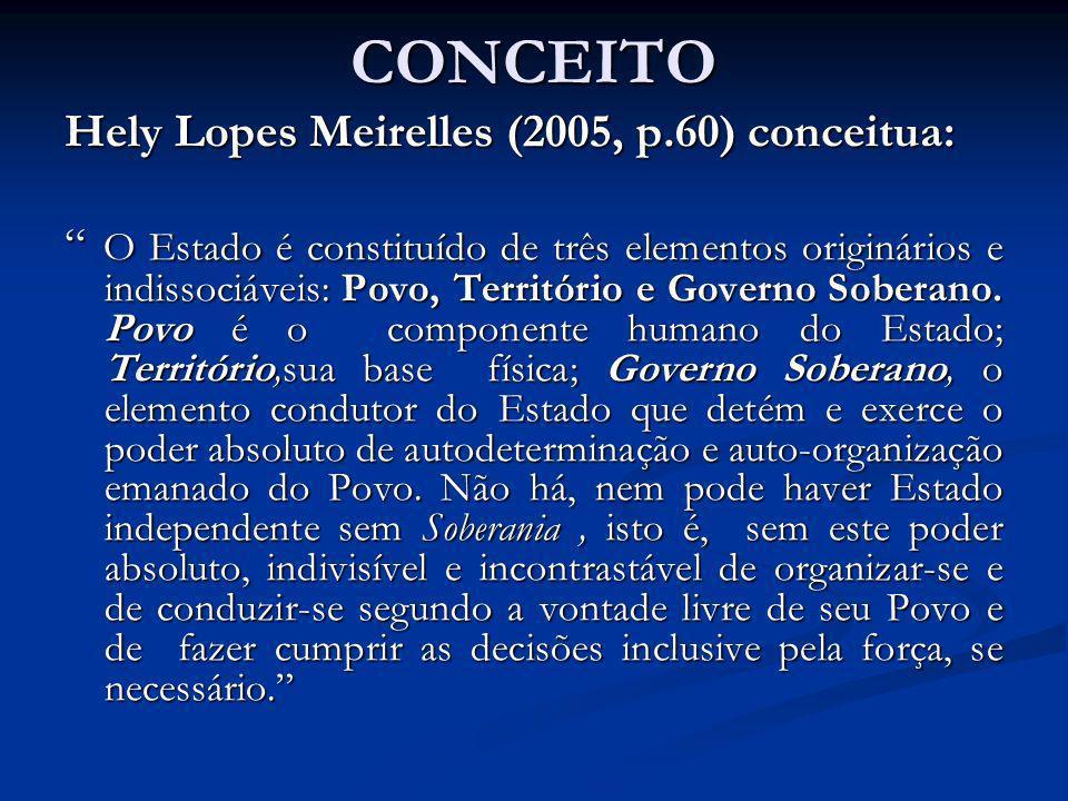 CONCEITO Hely Lopes Meirelles (2005, p.60) conceitua: O Estado é constituído de três elementos originários e indissociáveis: Povo, Território e Govern