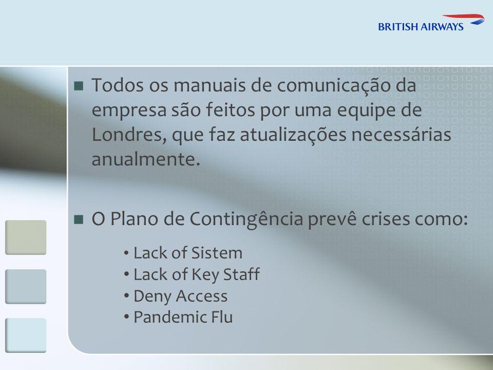 Todos os manuais de comunicação da empresa são feitos por uma equipe de Londres, que faz atualizações necessárias anualmente.