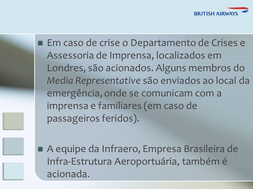 Em caso de crise o Departamento de Crises e Assessoria de Imprensa, localizados em Londres, são acionados.