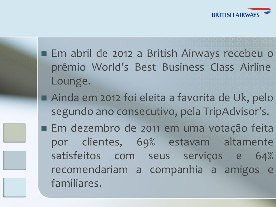Em abril de 2012 a British Airways recebeu o prêmio Worlds Best Business Class Airline Lounge.