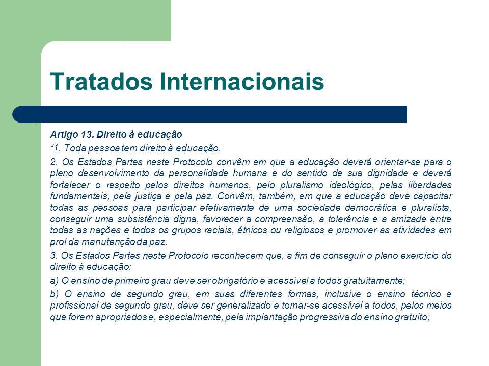 Tratados Internacionais Artigo 13. Direito à educação 1. Toda pessoa tem direito à educação. 2. Os Estados Partes neste Protocolo convêm em que a educ