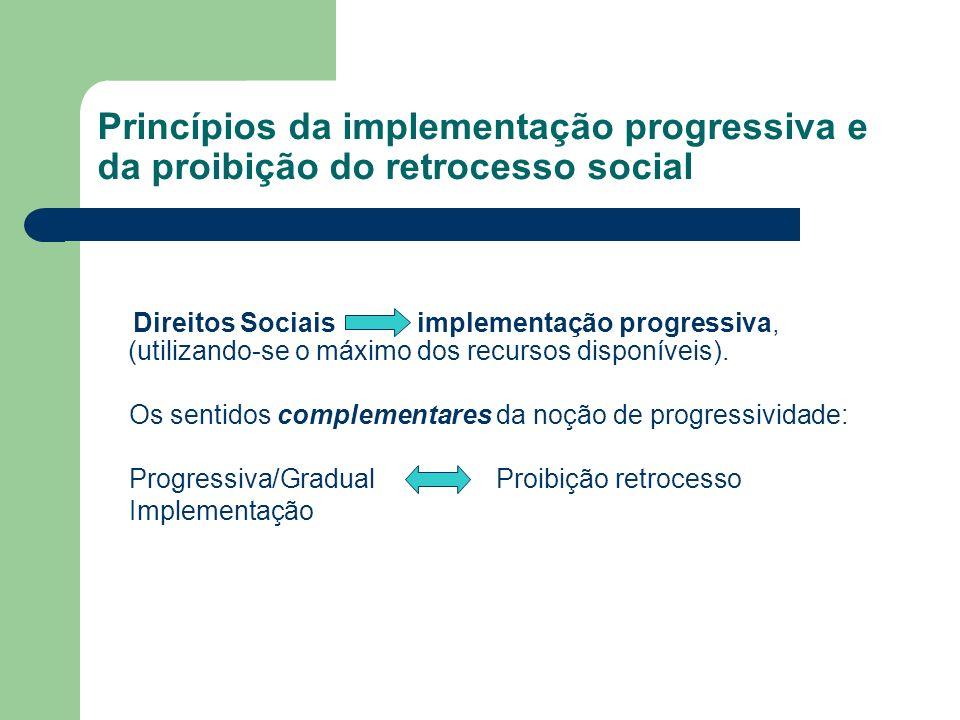 Princípios da implementação progressiva e da proibição do retrocesso social Direitos Sociais implementação progressiva, (utilizando-se o máximo dos re