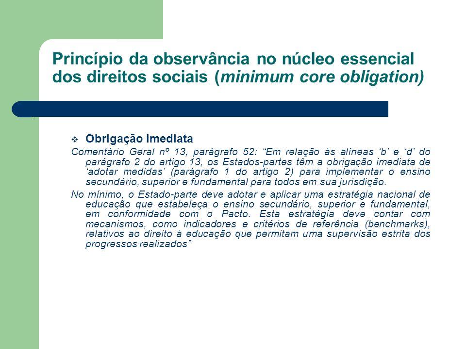 Princípio da observância no núcleo essencial dos direitos sociais (minimum core obligation) Obrigação imediata Comentário Geral nº 13, parágrafo 52: E