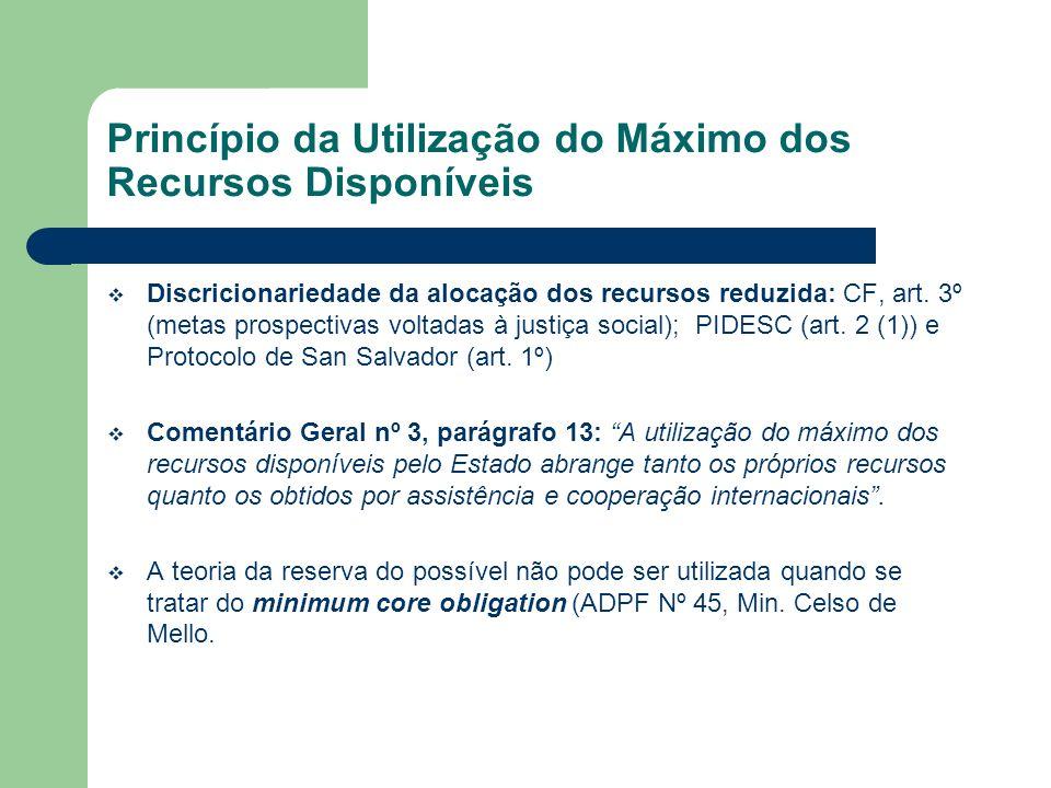 Princípio da Utilização do Máximo dos Recursos Disponíveis Discricionariedade da alocação dos recursos reduzida: CF, art. 3º (metas prospectivas volta