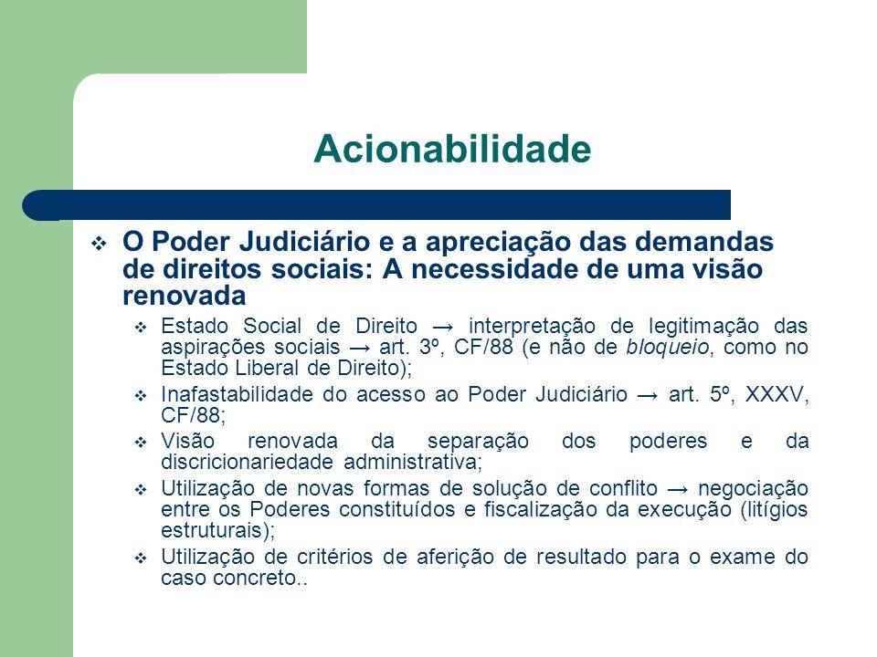 Acionabilidade O Poder Judiciário e a apreciação das demandas de direitos sociais: A necessidade de uma visão renovada Estado Social de Direito interp