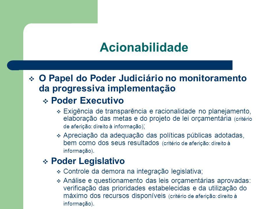 Acionabilidade O Papel do Poder Judiciário no monitoramento da progressiva implementação Poder Executivo Exigência de transparência e racionalidade no