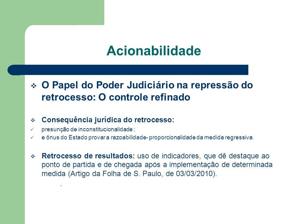 Acionabilidade O Papel do Poder Judiciário na repressão do retrocesso: O controle refinado Consequência jurídica do retrocesso: presunção de inconstit