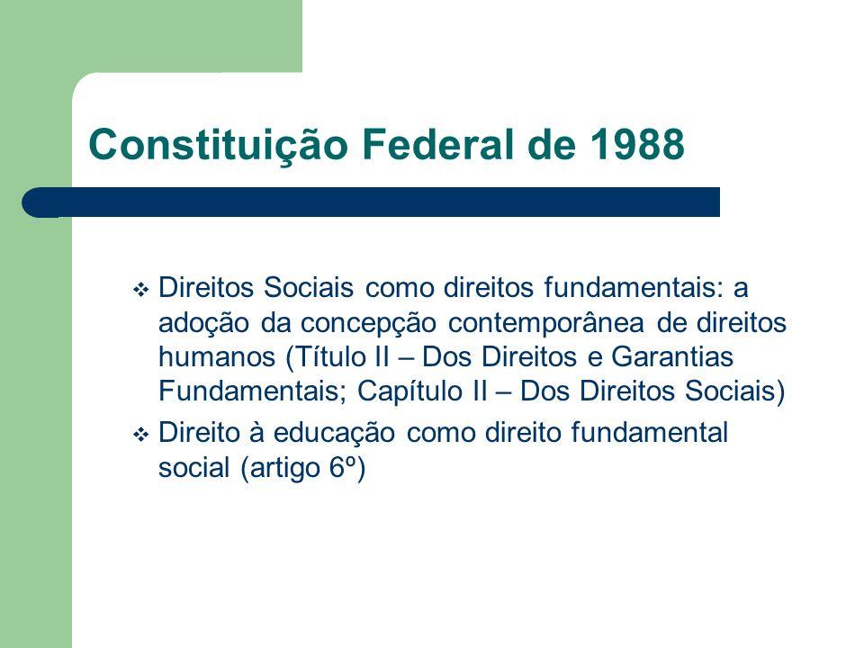 Constituição Federal de 1988 Direitos Sociais como direitos fundamentais: a adoção da concepção contemporânea de direitos humanos (Título II – Dos Dir