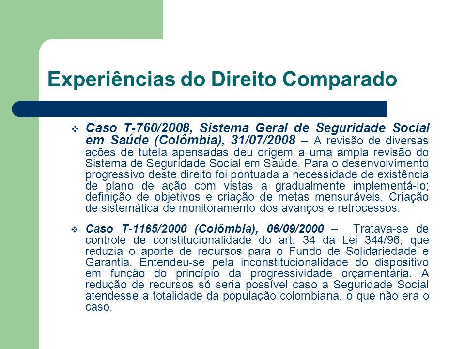 Experiências do Direito Comparado Caso T-760/2008, Sistema Geral de Seguridade Social em Saúde (Colômbia), 31/07/2008 – A revisão de diversas ações de