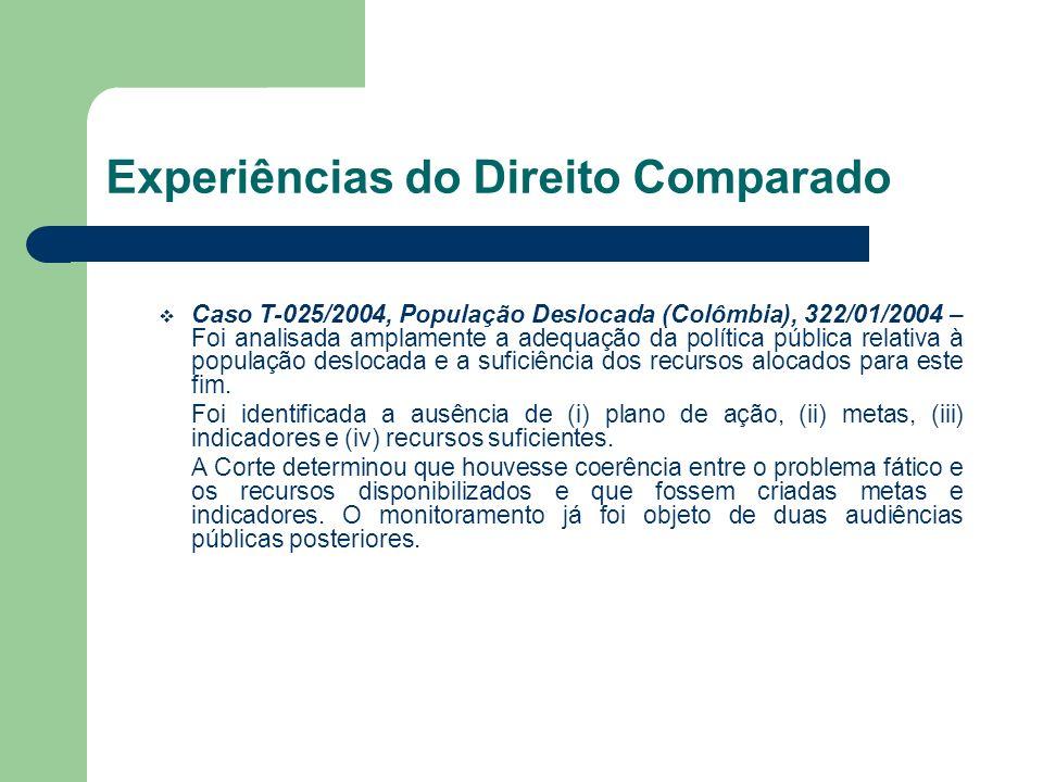 Experiências do Direito Comparado Caso T-025/2004, População Deslocada (Colômbia), 322/01/2004 – Foi analisada amplamente a adequação da política públ