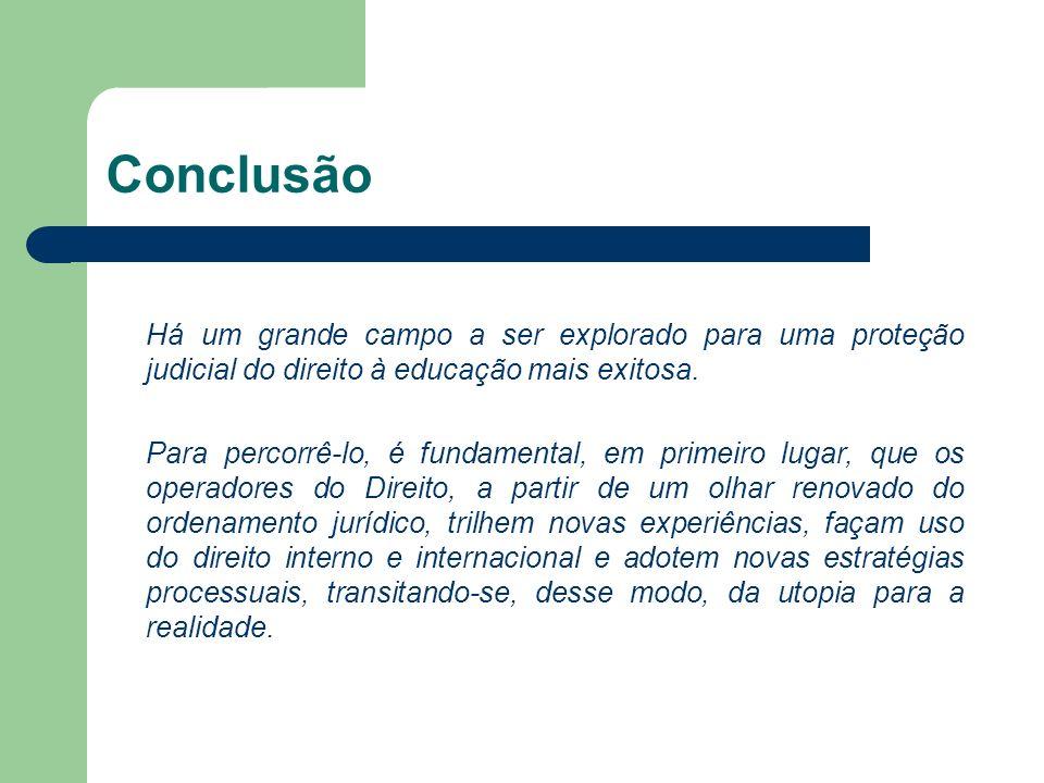 Conclusão Há um grande campo a ser explorado para uma proteção judicial do direito à educação mais exitosa. Para percorrê-lo, é fundamental, em primei