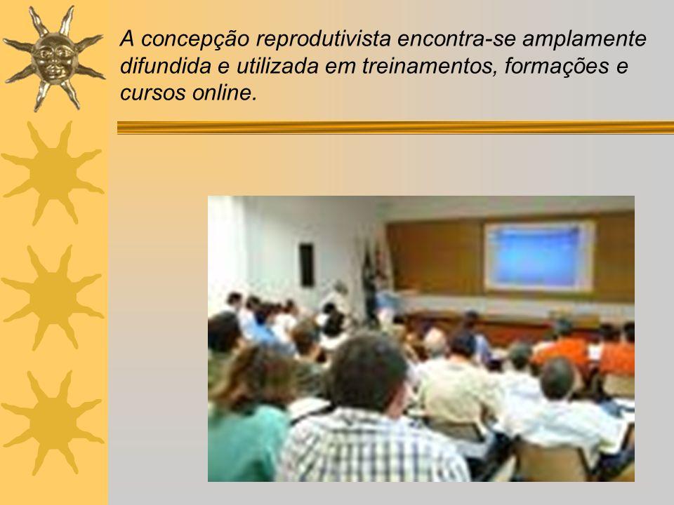 A concepção reprodutivista encontra-se amplamente difundida e utilizada em treinamentos, formações e cursos online.