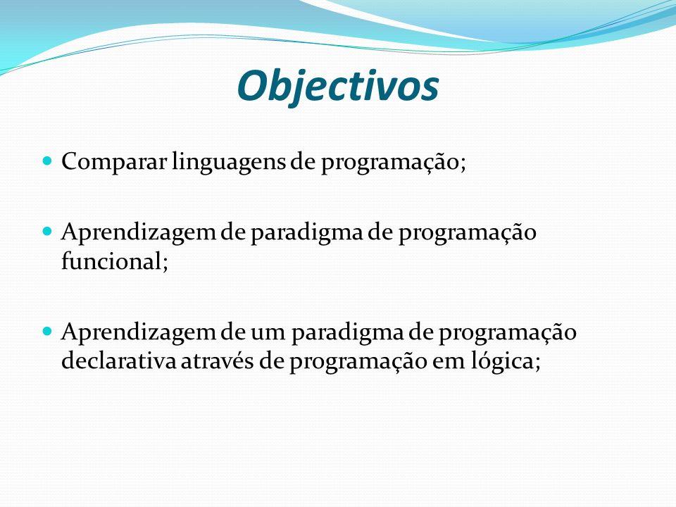 Objectivos Comparar linguagens de programação; Aprendizagem de paradigma de programação funcional; Aprendizagem de um paradigma de programação declara
