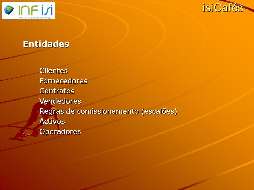 Entidades ClientesFornecedoresContratosVendedores Regras de comissionamento (escalões) ActivosOperadores isiCafés