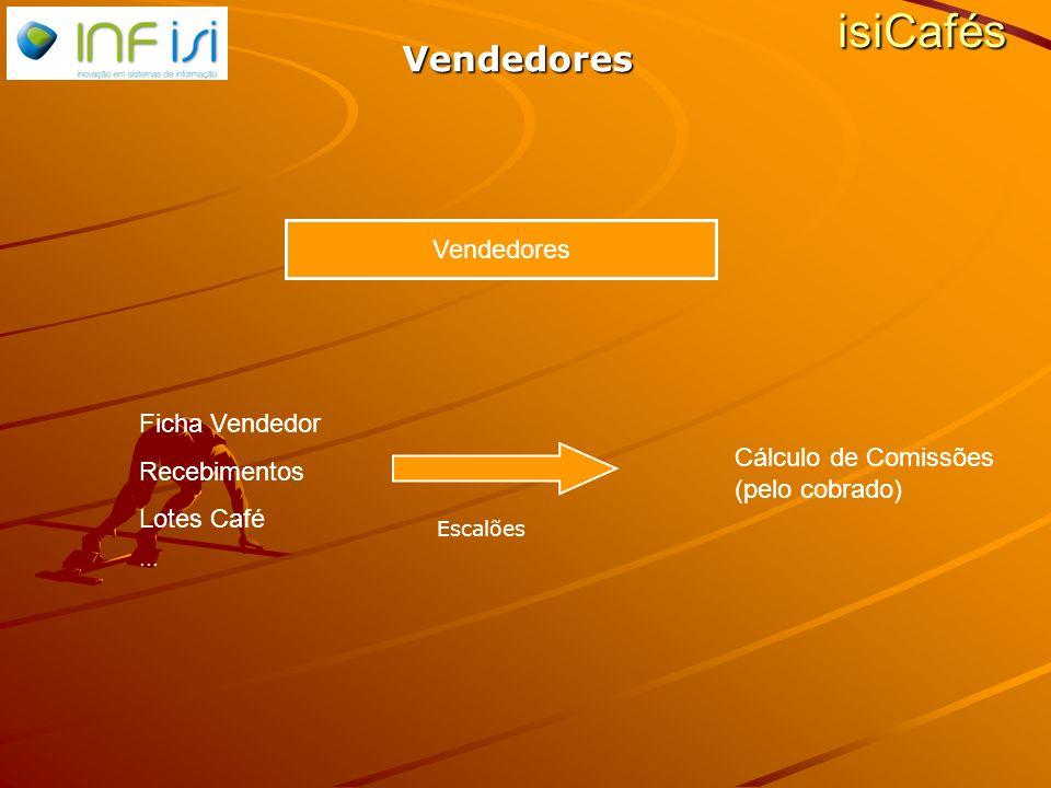 Vendedores Ficha Vendedor Recebimentos Lotes Café … Cálculo de Comissões (pelo cobrado) isiCafés Escalões Vendedores