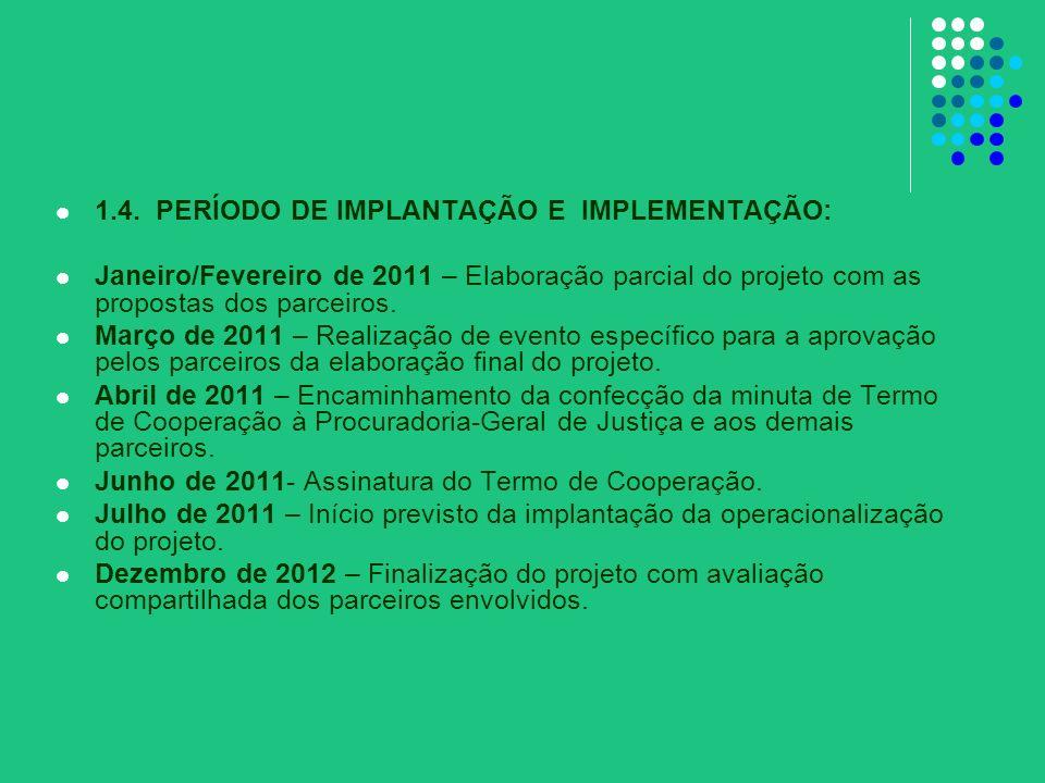1.4. PERÍODO DE IMPLANTAÇÃO E IMPLEMENTAÇÃO: Janeiro/Fevereiro de 2011 – Elaboração parcial do projeto com as propostas dos parceiros. Março de 2011 –