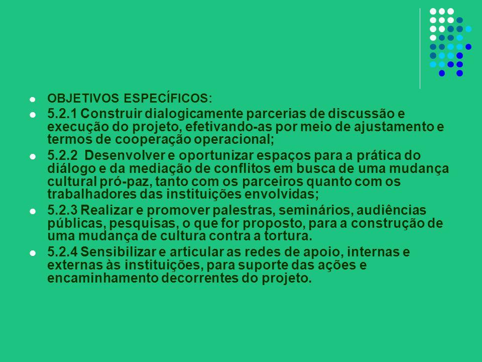 OBJETIVOS ESPECÍFICOS: 5.2.1 Construir dialogicamente parcerias de discussão e execução do projeto, efetivando-as por meio de ajustamento e termos de