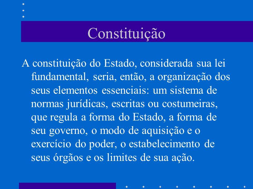 Constituição A constituição do Estado, considerada sua lei fundamental, seria, então, a organização dos seus elementos essenciais: um sistema de norma