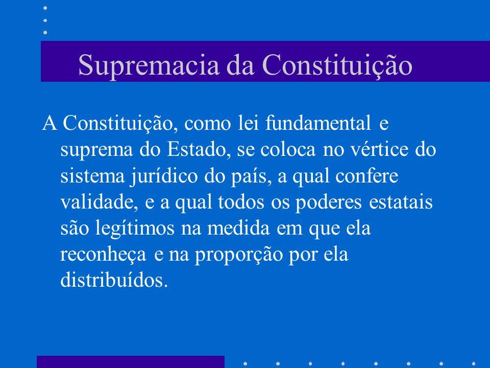 Supremacia da Constituição A Constituição, como lei fundamental e suprema do Estado, se coloca no vértice do sistema jurídico do país, a qual confere