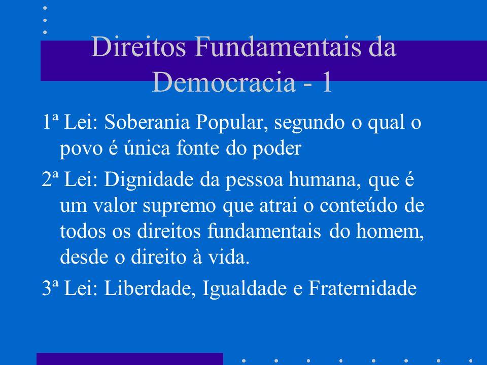 Direitos Fundamentais da Democracia - 1 1ª Lei: Soberania Popular, segundo o qual o povo é única fonte do poder 2ª Lei: Dignidade da pessoa humana, qu