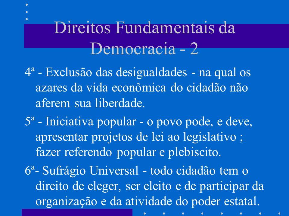 Direitos Fundamentais da Democracia - 2 4ª - Exclusão das desigualdades - na qual os azares da vida econômica do cidadão não aferem sua liberdade. 5ª