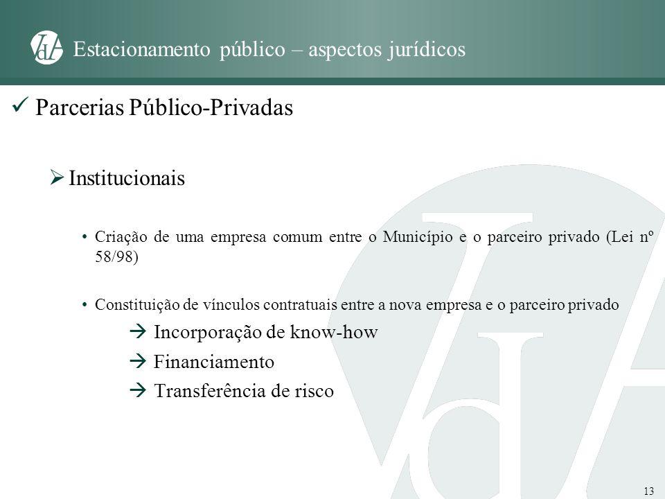 13 Estacionamento público – aspectos jurídicos Parcerias Público-Privadas Institucionais Criação de uma empresa comum entre o Município e o parceiro p
