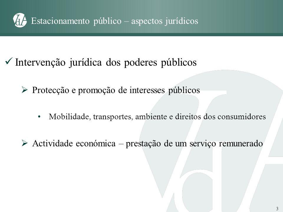 3 Estacionamento público – aspectos jurídicos Intervenção jurídica dos poderes públicos Protecção e promoção de interesses públicos Mobilidade, transp