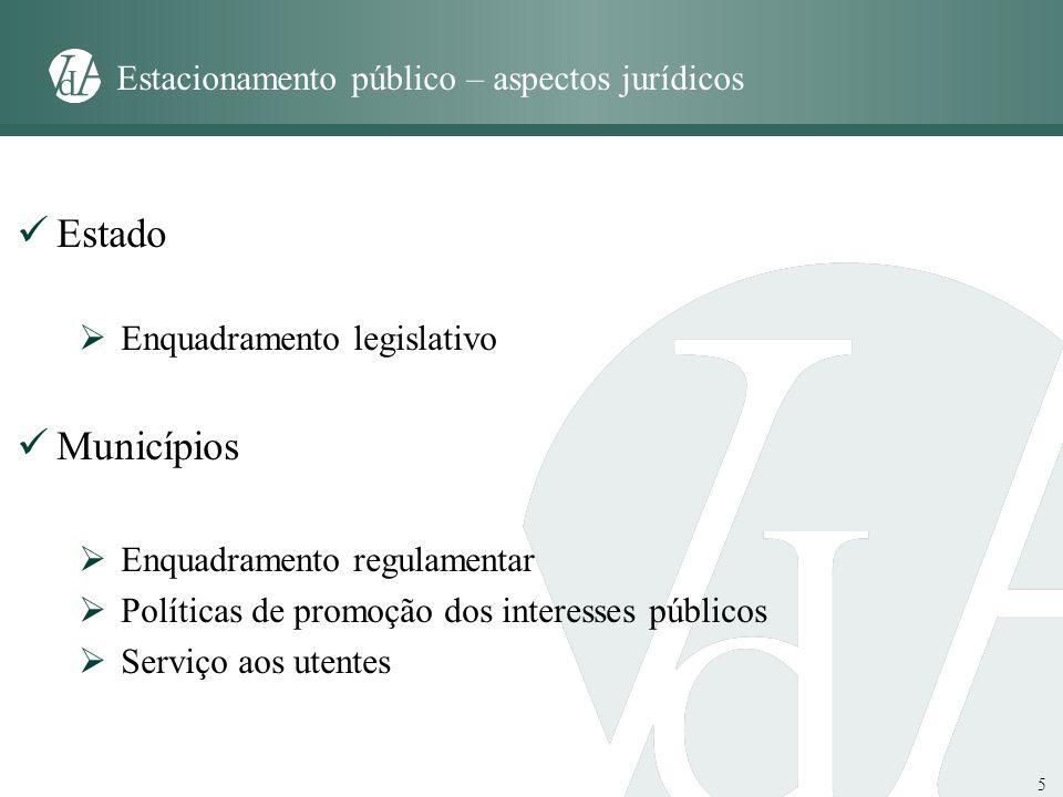 5 Estacionamento público – aspectos jurídicos Estado Enquadramento legislativo Municípios Enquadramento regulamentar Políticas de promoção dos interes