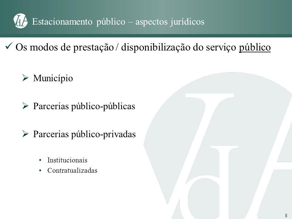 8 Estacionamento público – aspectos jurídicos Os modos de prestação / disponibilização do serviço público Município Parcerias público-públicas Parceri