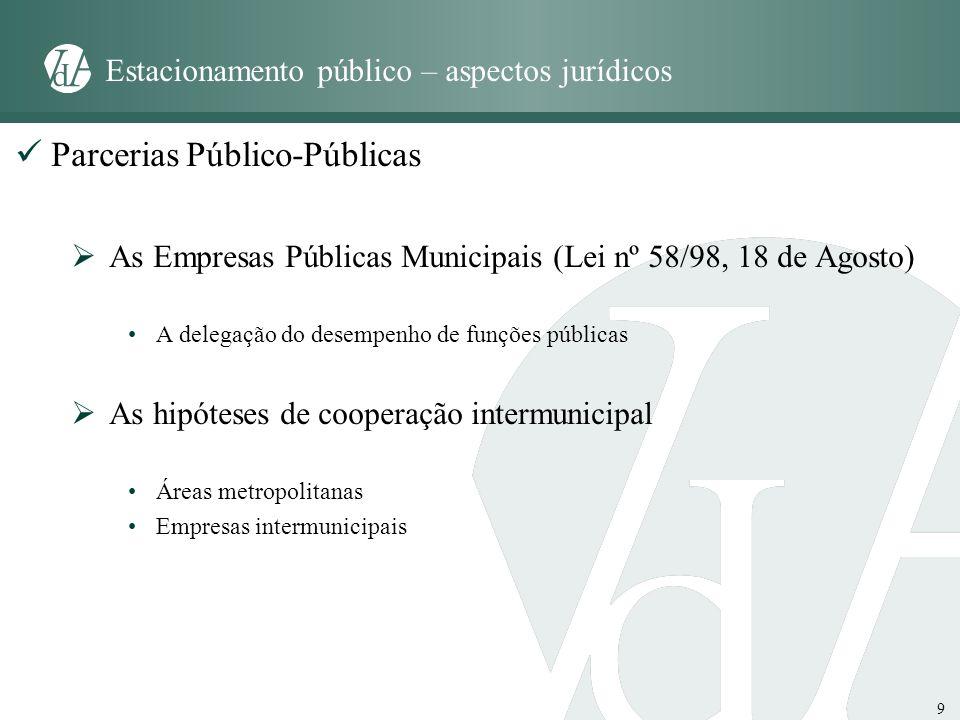 9 Estacionamento público – aspectos jurídicos Parcerias Público-Públicas As Empresas Públicas Municipais (Lei nº 58/98, 18 de Agosto) A delegação do d