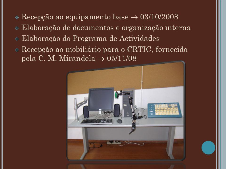 Recepção ao equipamento base 03/10/2008 Elaboração de documentos e organização interna Elaboração do Programa de Actividades Recepção ao mobiliário pa