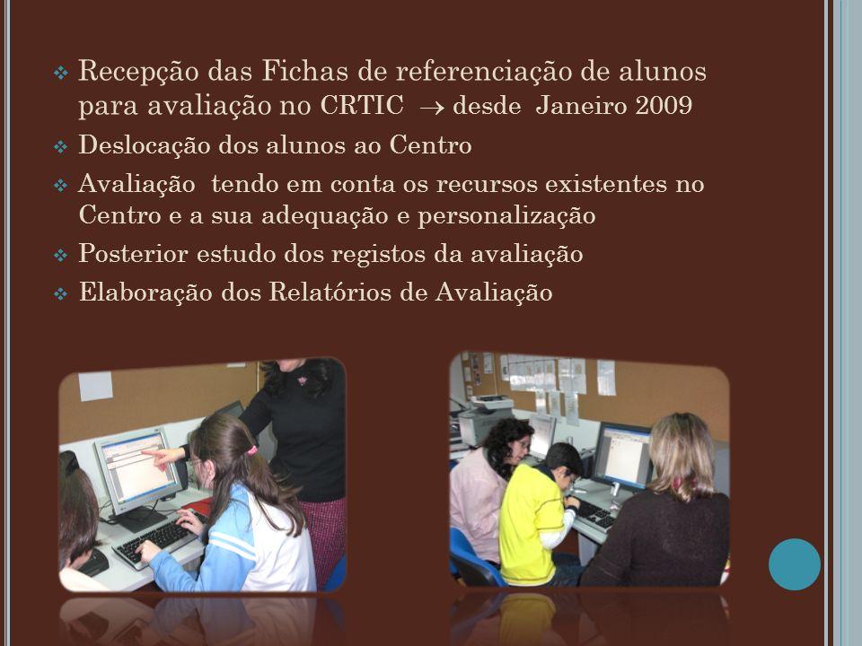 Recepção das Fichas de referenciação de alunos para avaliação no CRTIC desde Janeiro 2009 Deslocação dos alunos ao Centro Avaliação tendo em conta os