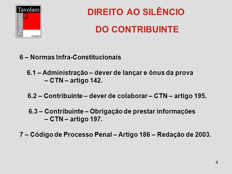 4 DIREITO AO SILÊNCIO DO CONTRIBUINTE 6 – Normas Infra-Constitucionais 6.1 – Administração – dever de lançar e ônus da prova – CTN – artigo 142. 6.2 –