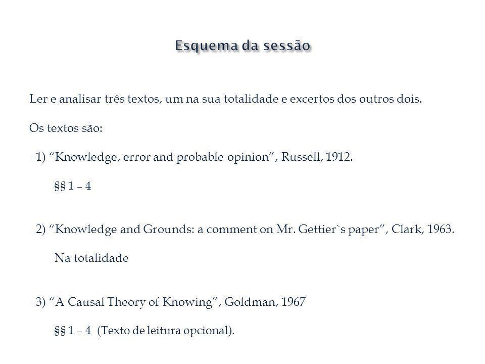 Ler e analisar três textos, um na sua totalidade e excertos dos outros dois. Os textos são: 1) 1) Knowledge, error and probable opinion, Russell, 1912