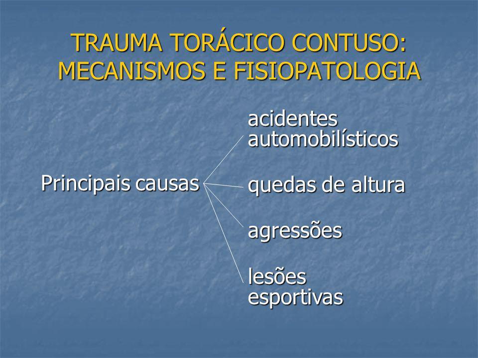 ASPECTOS GERAIS DO TRAUMA TORÁCICO Responsável por 25% das mortes por trauma; Responsável por 25% das mortes por trauma; 85 a 90% dos traumatismos tor
