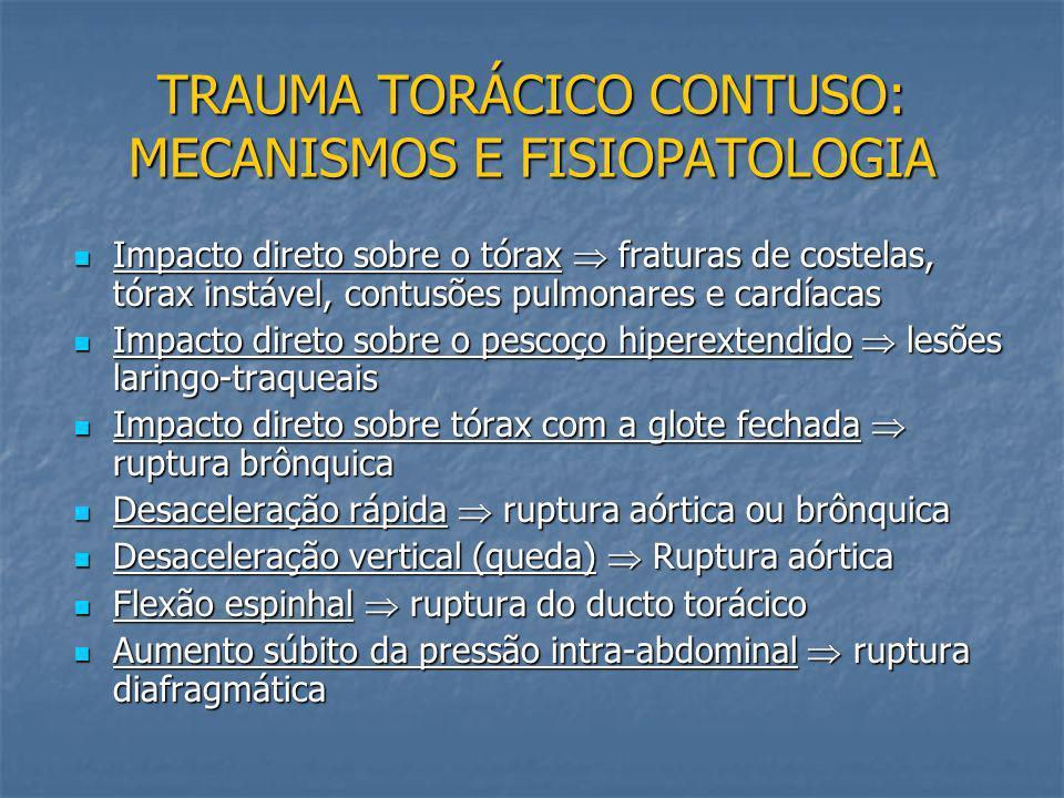 TRAUMA TORÁCICO CONTUSO: MECANISMOS E FISIOPATOLOGIA Principais causas Principais causas acidentes automobilísticos quedas de altura quedas de altura