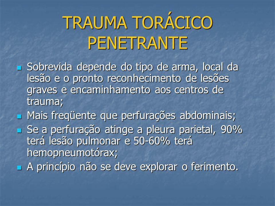 TRAUMA TORÁCICO CONTUSO: MECANISMOS E FISIOPATOLOGIA Impacto direto sobre o tórax fraturas de costelas, tórax instável, contusões pulmonares e cardíac