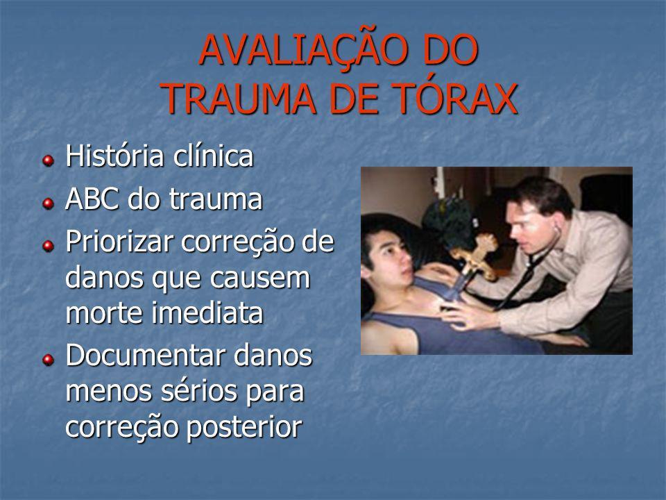 TRAUMA TORÁCICO PENETRANTE Sobrevida depende do tipo de arma, local da lesão e o pronto reconhecimento de lesões graves e encaminhamento aos centros d