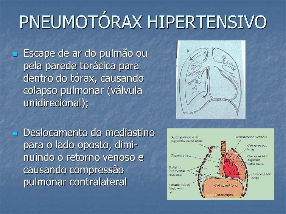 EXAME PRIMÁRIO - LESÕES COM RISCO IMINENTE DE VIDA Pneumotórax hipertensivo Pneumotórax aberto Tórax instável Hemotórax maciço Tamponamento cardíaco