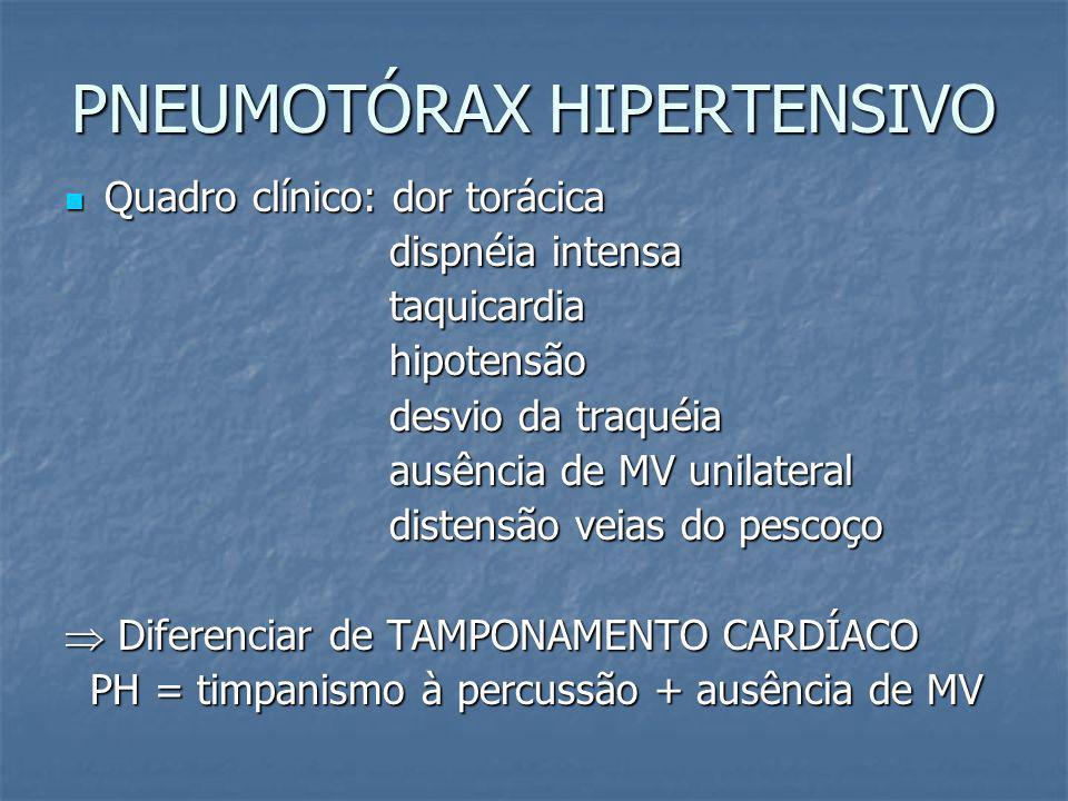 PNEUMOTÓRAX HIPERTENSIVO Escape de ar do pulmão ou pela parede torácica para dentro do tórax, causando colapso pulmonar (válvula unidirecional); Escap