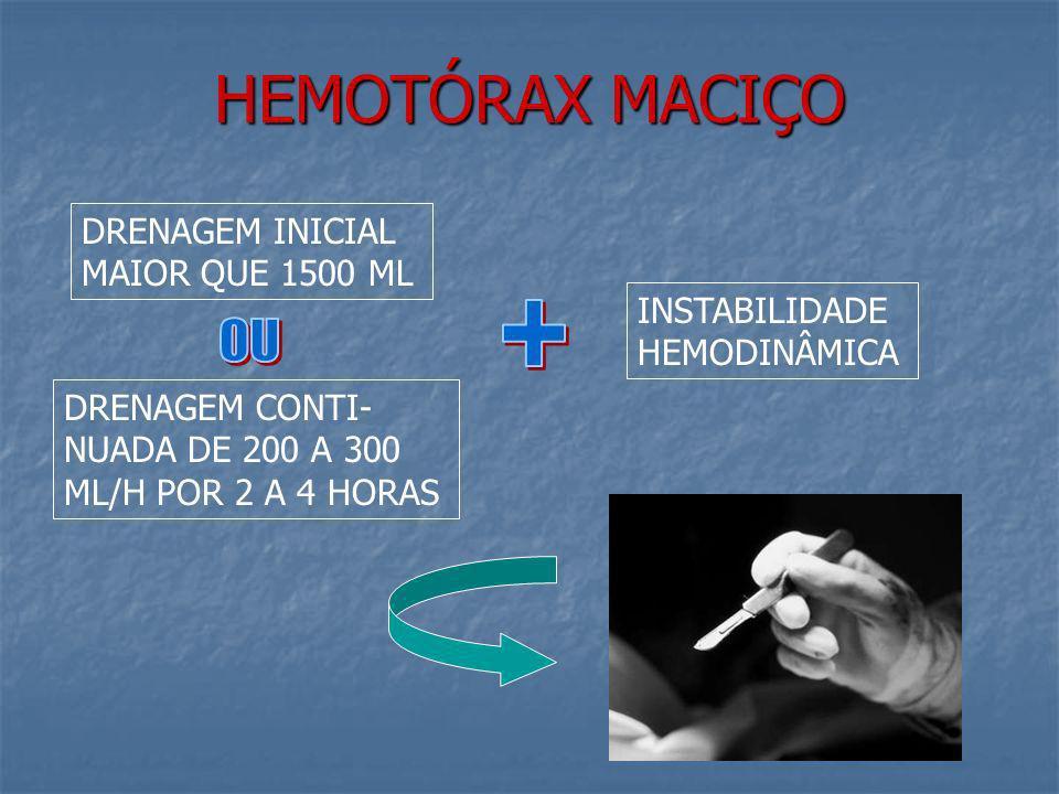 HEMOTÓRAX MACIÇO CONDUTA INICIAL DRENO CALIBROSO SE POSSÍVEL AUTO- TRANSFUSÃO