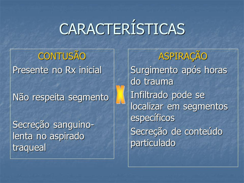 CONTUSÃO PULMONAR Mortalidade de 22 a 33% Tratamento de suporte DIFERENCIAR DE ASPIRAÇÃO