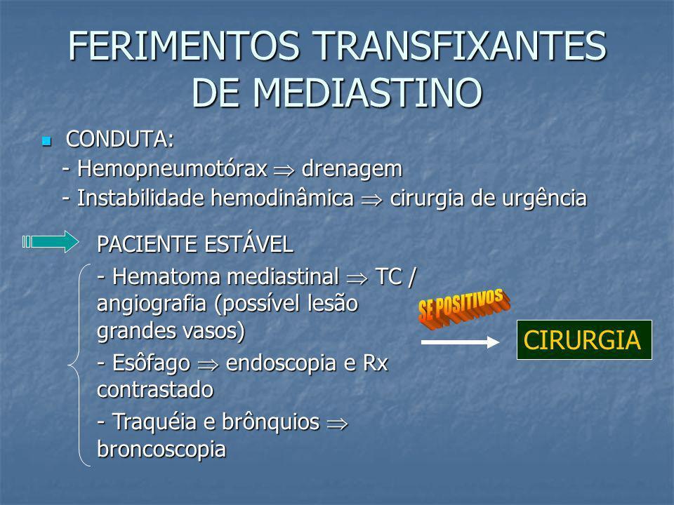 FERIMENTOS TRANSFIXANTES DE MEDIASTINO Estruturas que podem ser lesadas: coração, grandes vasos, traquéia / brônquios, coluna vertebral, esôfago; Estr