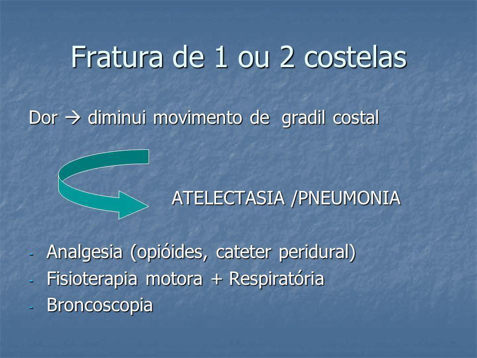 FRATURAS DE COSTELAS - Dano torácico mais comum (35-40% das vítimas de trauma de tórax); - Diagnóstico: suspeita clínica Rx: extensão do dano TC: frat