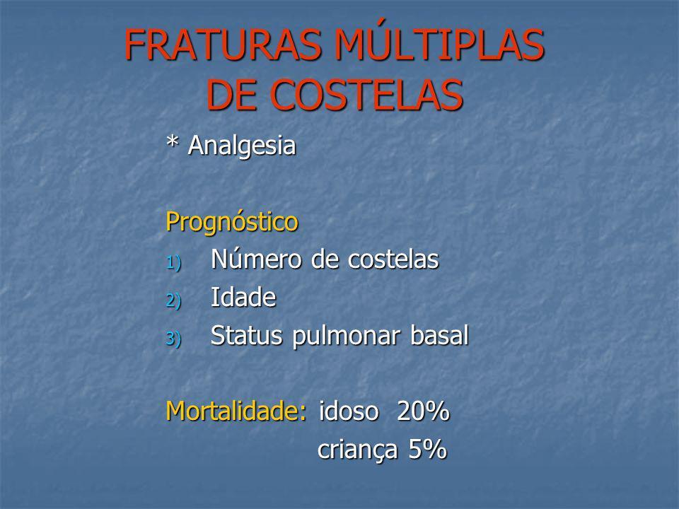 Fratura de 1 ou 2 costelas Dor diminui movimento de gradil costal ATELECTASIA /PNEUMONIA - Analgesia (opióides, cateter peridural) - Fisioterapia moto