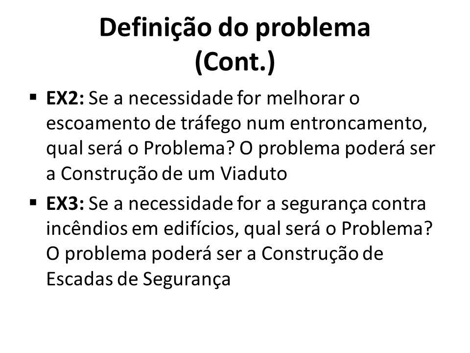 Definição do problema (Cont.) EX2: Se a necessidade for melhorar o escoamento de tráfego num entroncamento, qual será o Problema? O problema poderá se
