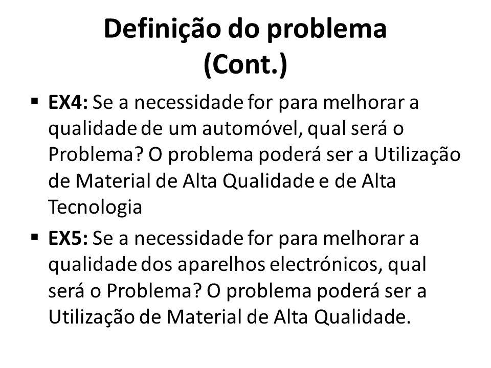 Definição do problema (Cont.) EX4: Se a necessidade for para melhorar a qualidade de um automóvel, qual será o Problema? O problema poderá ser a Utili