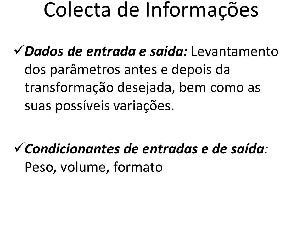 Colecta de Informações Dados de entrada e saída: Levantamento dos parâmetros antes e depois da transformação desejada, bem como as suas possíveis vari