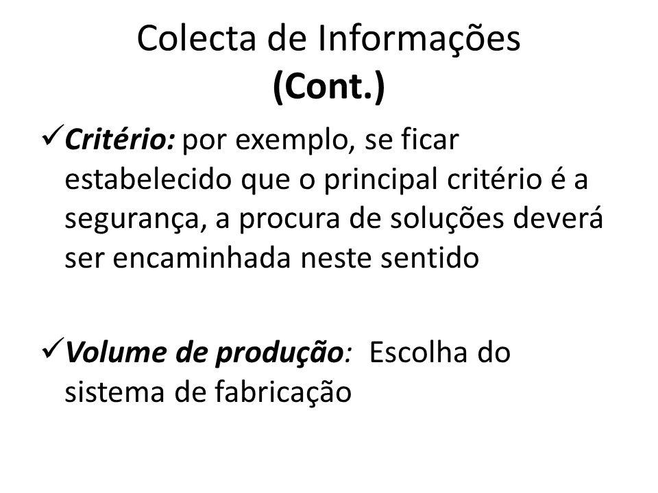 Colecta de Informações (Cont.) Critério: por exemplo, se ficar estabelecido que o principal critério é a segurança, a procura de soluções deverá ser e