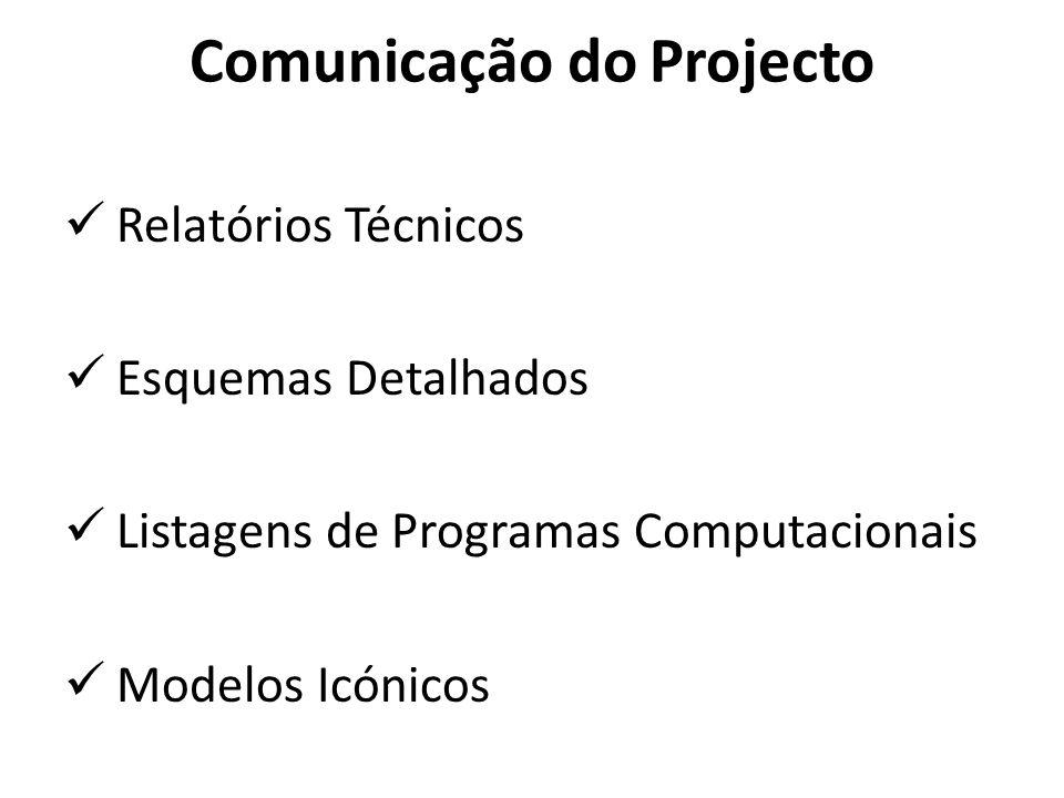 Comunicação do Projecto Relatórios Técnicos Esquemas Detalhados Listagens de Programas Computacionais Modelos Icónicos